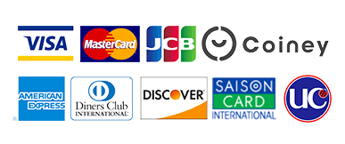 VISA MasterCard JCB Coiney AMERICAN EXPRESS Diners Club DISCOVER SAISON CARD UC